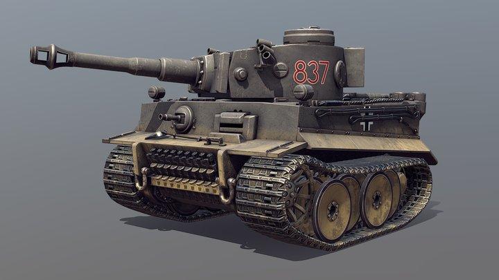 Toon German Tiger I Tank 3D Model