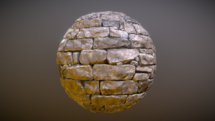 Stone Castle Wall Material 02 3D Model