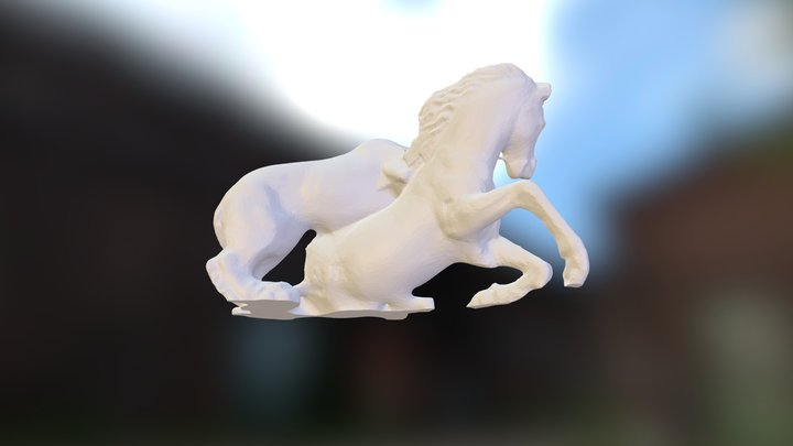 Lion Attacking a Horse_v4 3D Model