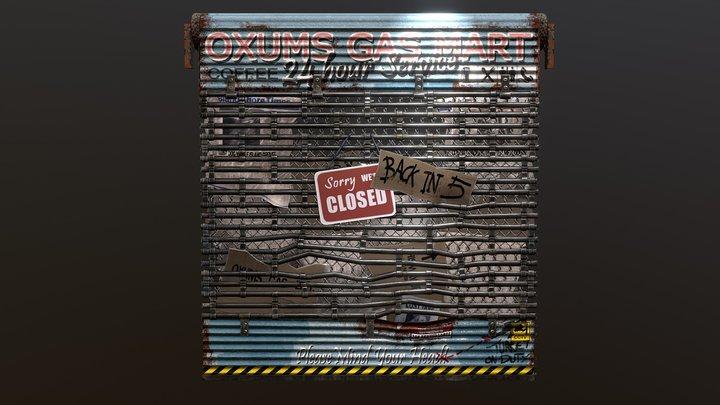 Oxums Shop Roller | Rust Garage Door 3D Model