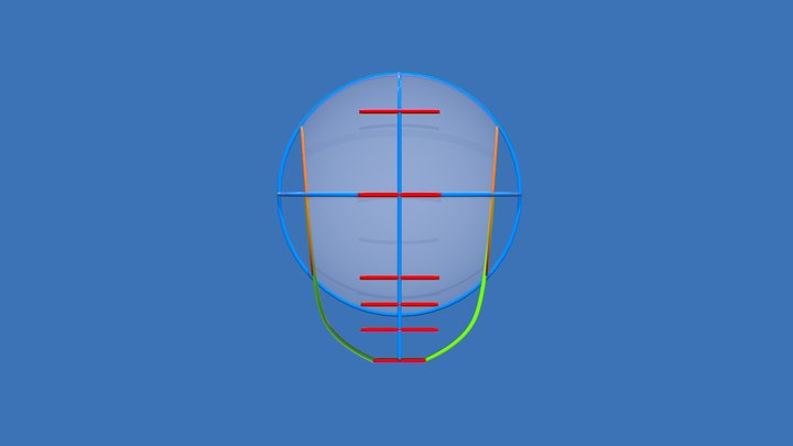 Human Head Guide Lines - Inspired by Loomis 3D Model