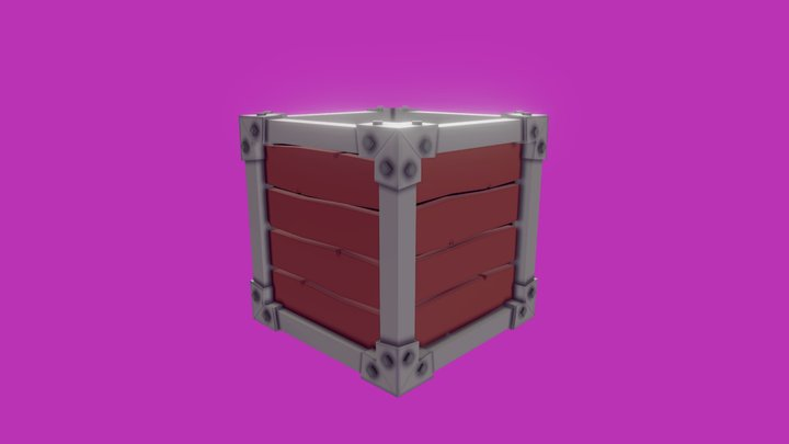 Caja madera lowpoly 3D Model