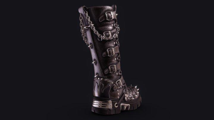 Gothic Punk Boot 3D Model