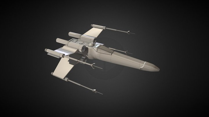 X-Wing Low Poly 3D Model