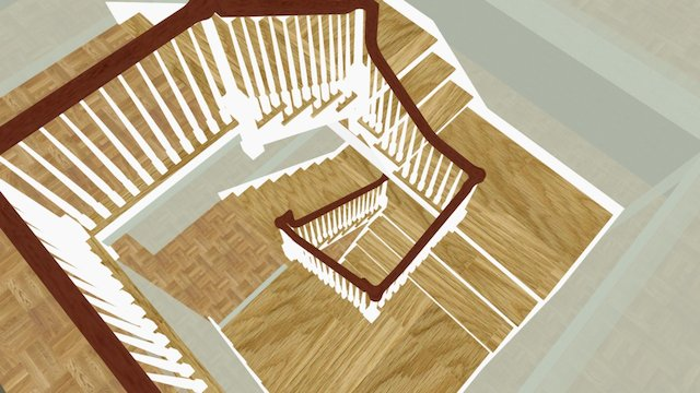 Straws Point back stair with walls 3D Model