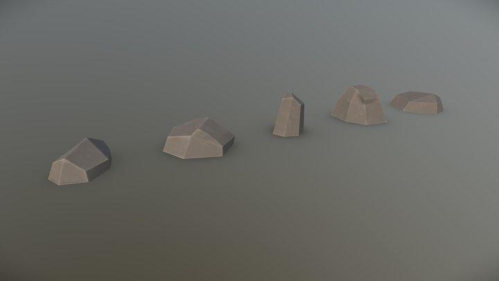 Low Poly Rock Set 3D Model