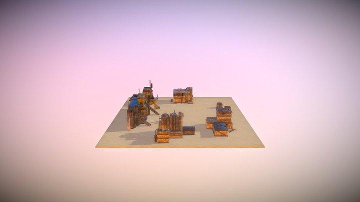 Neocronx Derelict Industrial Desert Facility 3D Model