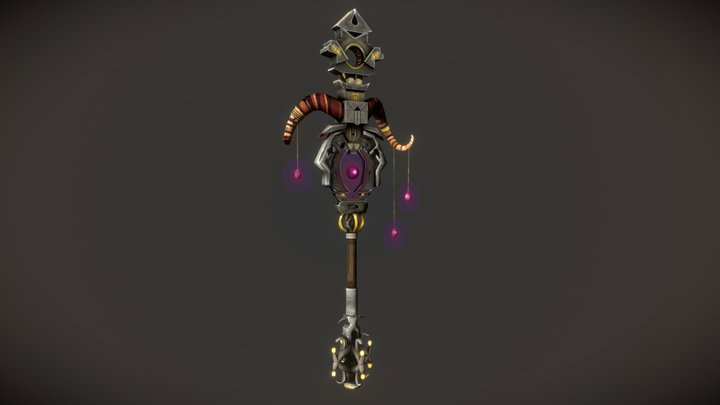 Mage Staff of the Deceased (Stylized WOW weapon) 3D Model