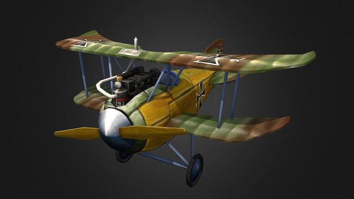 Stylized Albatros DII 3D Model