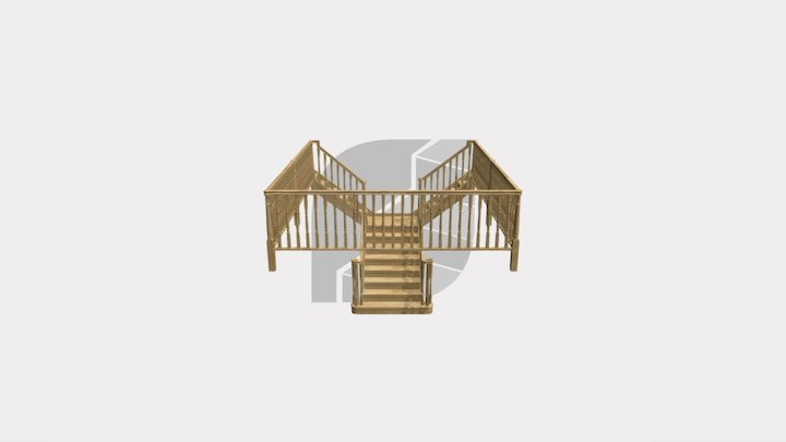Oak T-shape staircase with continuous handrails 3D Model