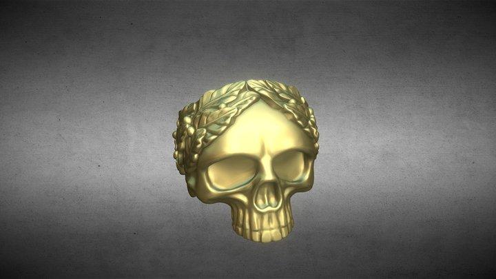 Nhẫn đầu lâu nguyệt quế - 3D Skull Olive RING 3D Model