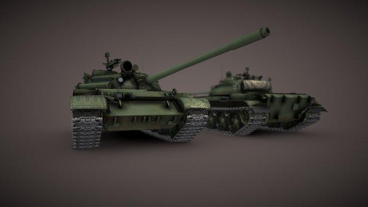 T-55 Main Battle Tank 3D Model