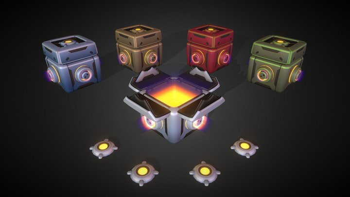 Loot Box set animated - with 5 different colors 3D Model