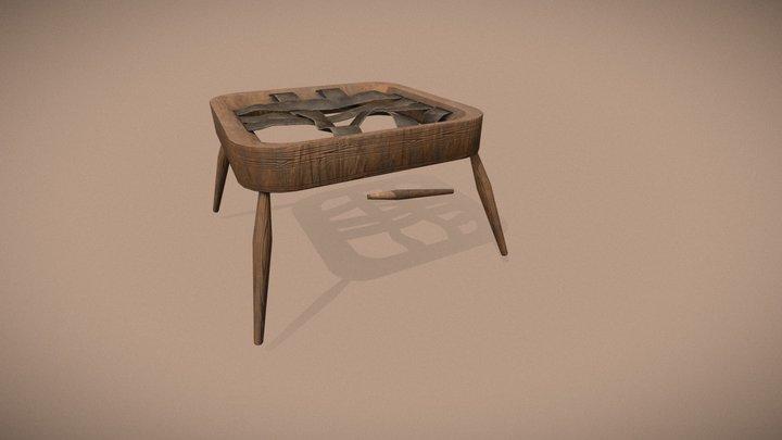 Old Footstool Restoration 3D Model