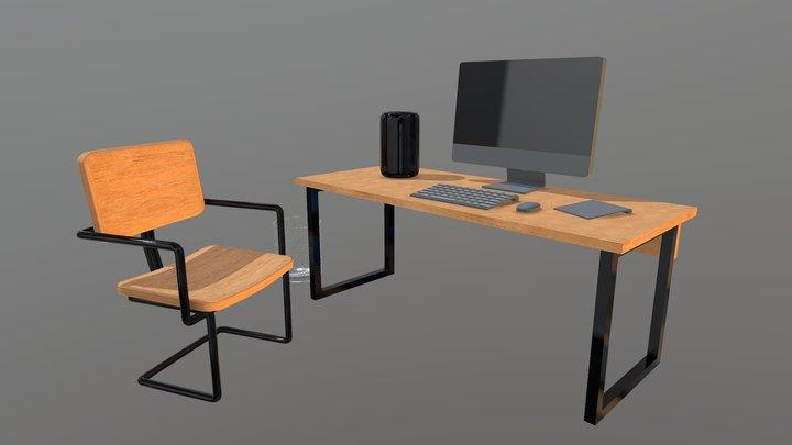 Office Computer Desk SET Desktop 3D Model