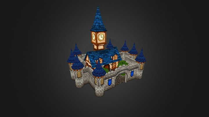 Hand painted castle 3D Model