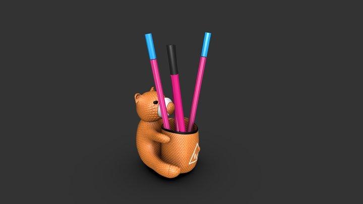 Pens and teddy bear 3D Model