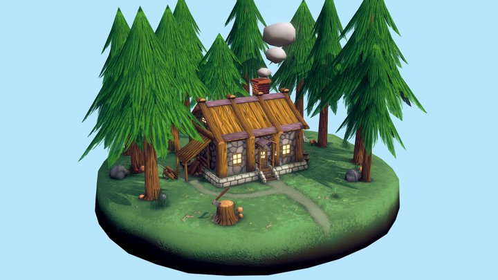 Cabin In The Woods Of Pines 3D Model