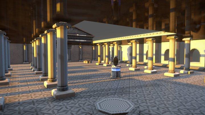 Greek Temple - Mobile VR Game scene 3D Model