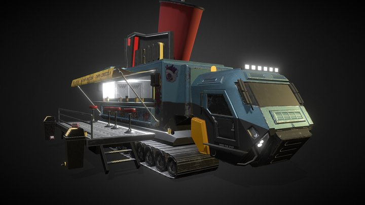 "Cyberpunk //  Food Truck ""Walfood"" 3D Model"