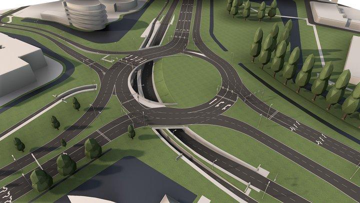 Roundabout   Baljuwlaan, Netherlands 3D Model
