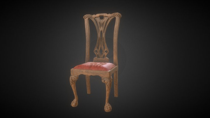 Victorian Chippendale Dinning Chair 3D Model