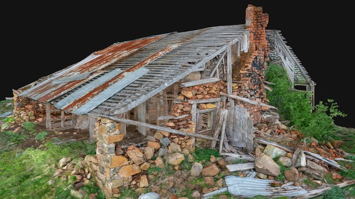 Settler's cottage ruin with interior 3D Model