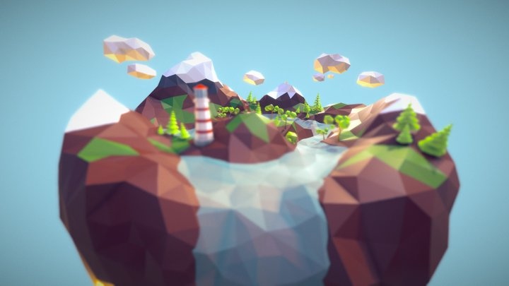 Low Poly Flying Island 3D Model
