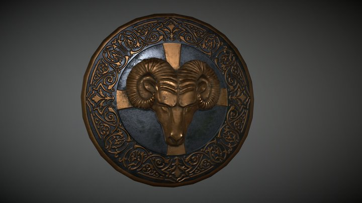Shield with ram head 3D Model