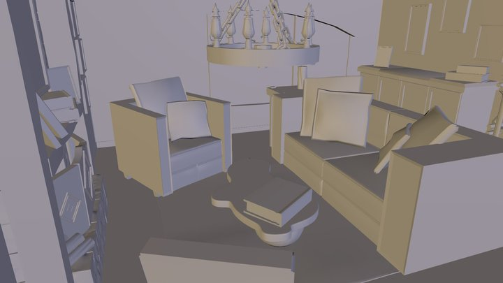 Rustic Living Room 3D Model