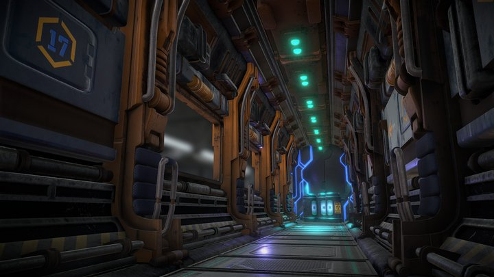 Sci-fi-corridor. Texturing Challenge 3D Model