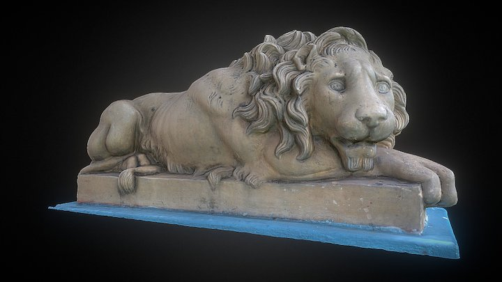 Canova Crouching Lion Replica 3D Model