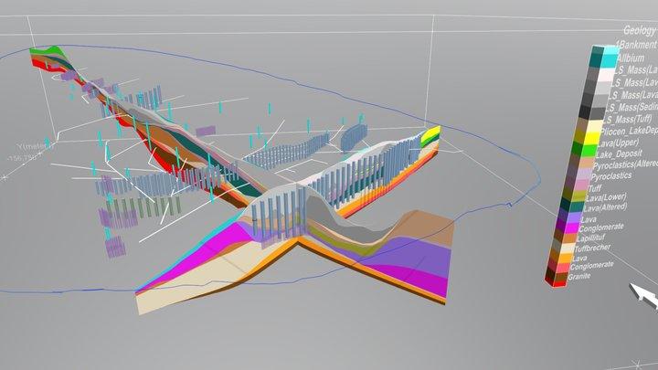 Geologic Sections 3 Frames 3D Model
