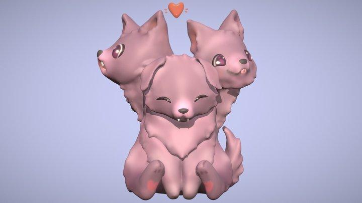Cute Cerberus Fluffy 3D Model