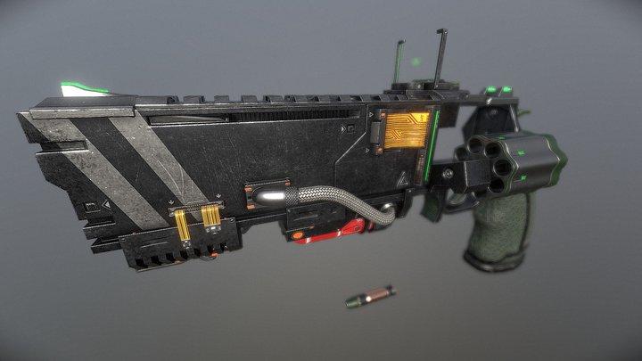 8 round Revolver + attachements 3D Model