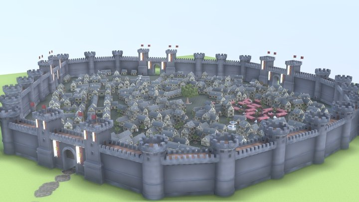 Medieval Modular City Realistic - WIP 3D Model