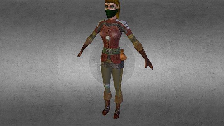 Female warrior mobile 2012 3D Model