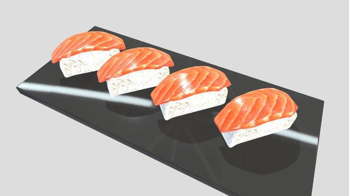Salmon Nigiri Sushi (Low Poly) 3D Model