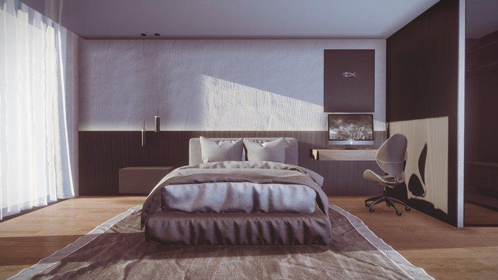 Master Black&White Bedroom 3D Model