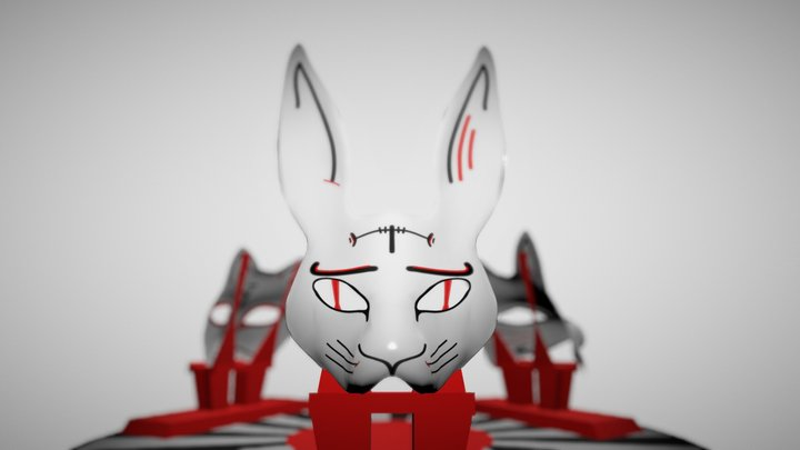 Three Masks In Japanese Style(Cat, Fox, Hare) 3D Model