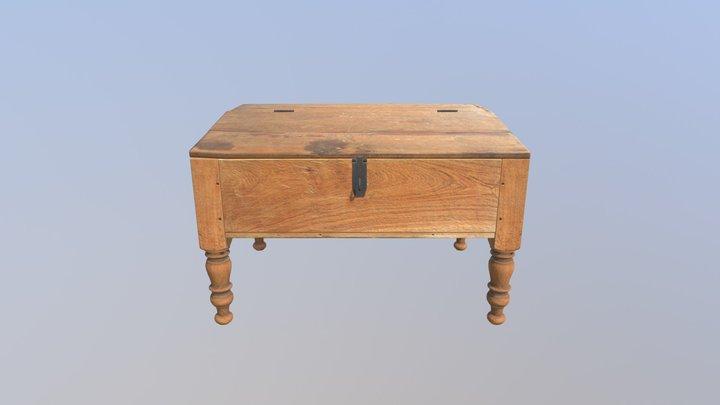 Brown Desk Animated 3D Model