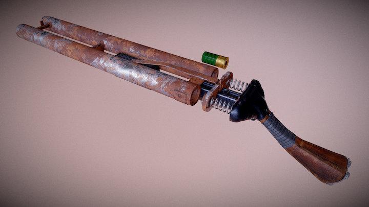 Post-apocalyptic Handmade shotgun 3D Model