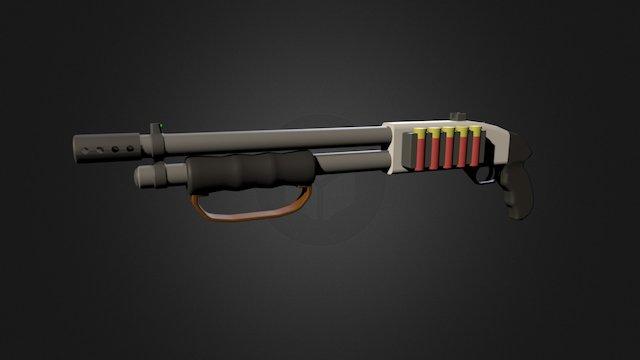 Sawed off pump action shotgun (Mossberg 500) 3D Model