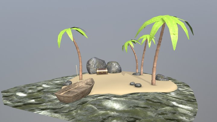Pirate Treasure Scene 3D Model