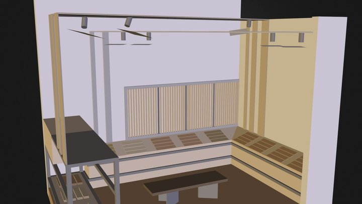wooden material show space 3D Model