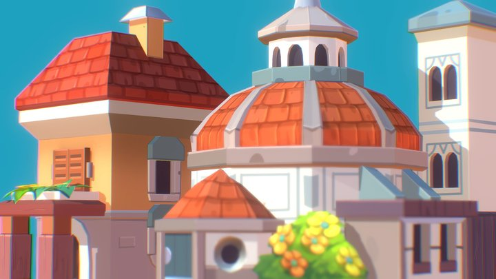 Florence - building and church cartoon stylized 3D Model
