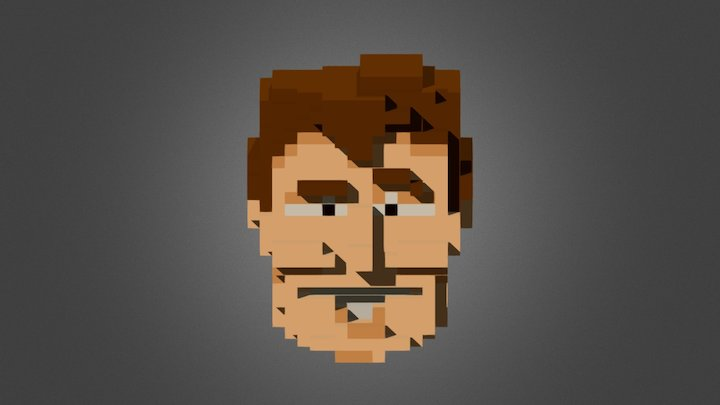 Voxel Serious Sam Head 3D Model