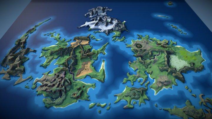 Final Fantasy VII 3D World Map 3D Model