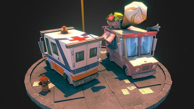 Ice Cream and Ambulance 3D Model