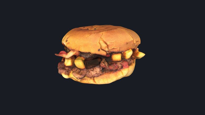 French Fries Burger - Photogrammetry 3D Model